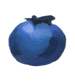 Bleu myrtille isolé sur fond blanc bleuets acryliques dessinés à la main close up