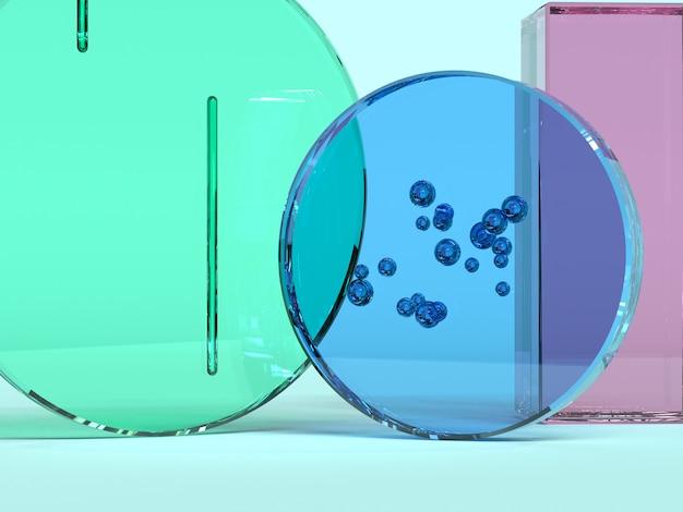 Bleu rose vert bleu verre transparence matériau forme géométrique résumé rendu 3d
