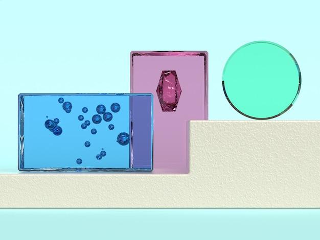 Bleu rose vert bleu verre transparence matériau forme géométrique