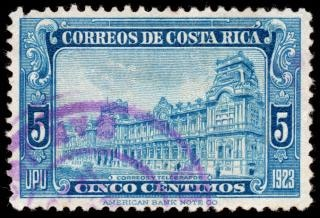 Bleu timbre poste bâtiment