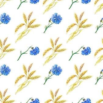Bleuets bleus, blé modèle sans couture floral aquarelle. illustration aquarelle avec fleur