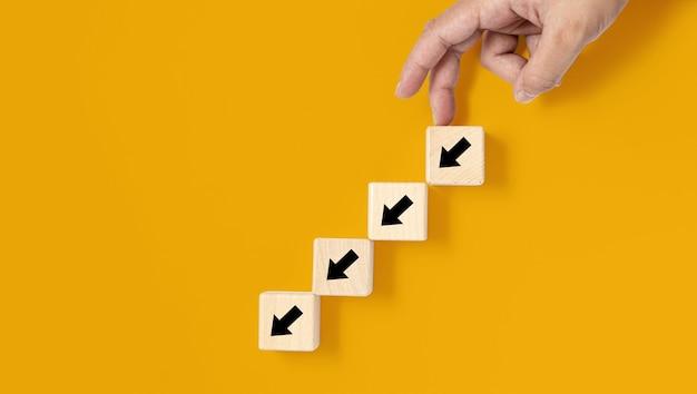 Un bloc de bois carré est placé sur un fond jaune, sur le bloc de bois montrant une flèche vers le bas et une main faisant un mouvement vers le bas. bannière avec espace de copie pour le texte, l'affiche, le modèle de maquette.
