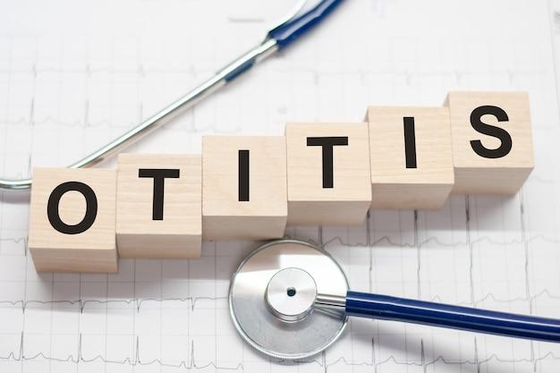 Bloc de bois forme le mot otitis avec stéthoscope sur le bureau du médecin
