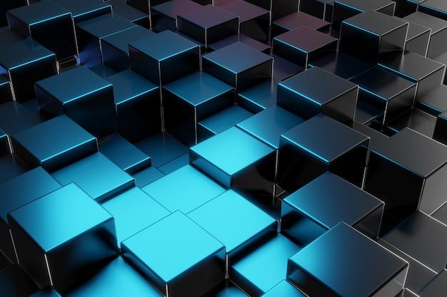 Bloc de construction métallique abstrait fond de cube