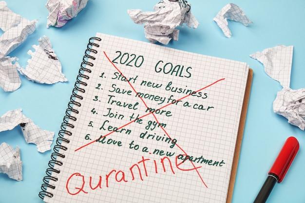 Bloc-notes avec des objectifs annuels barrés