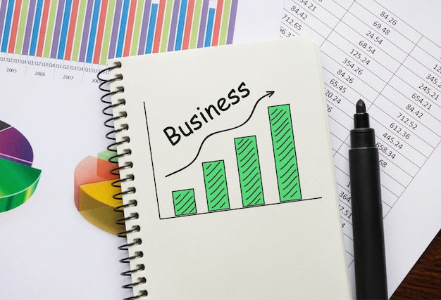 Bloc-notes avec outils et notes sur les affaires