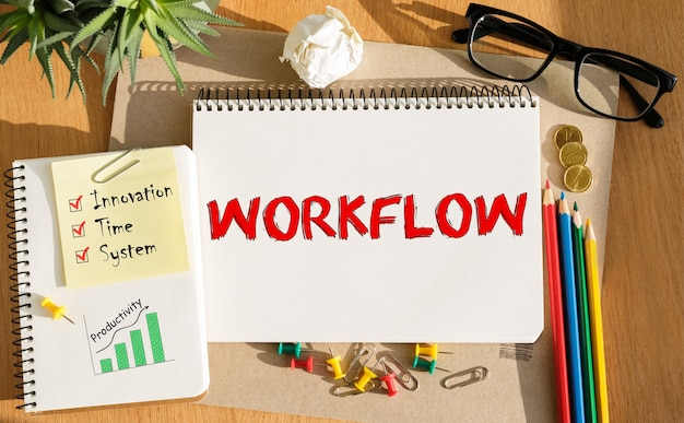 Bloc-notes avec des outils et des notes sur le flux de travail