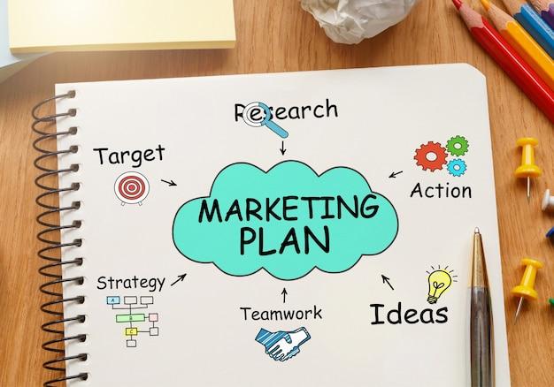 Bloc-notes avec des outils et des notes sur le plan marketing