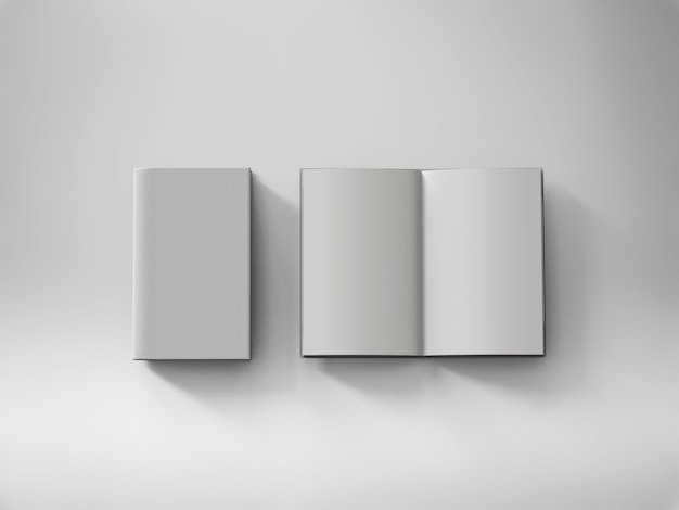 Bloc-notes de pages blanches de rendu 3d sur fond blanc