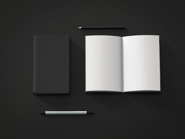 Bloc-notes de pages blanches de rendu 3d sur fond noir