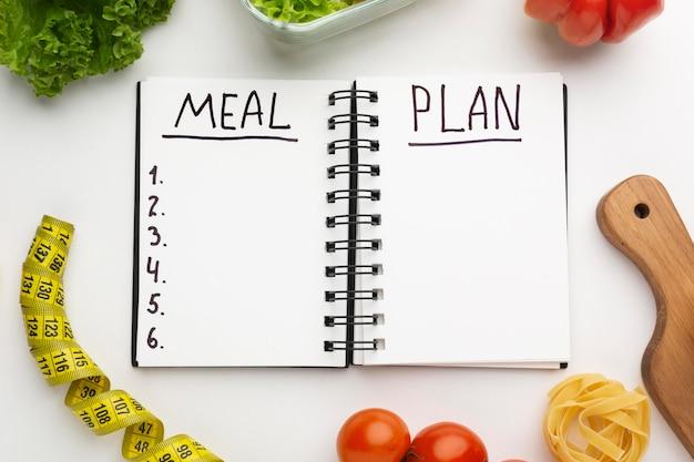Bloc-notes de planification des repas et composition des aliments