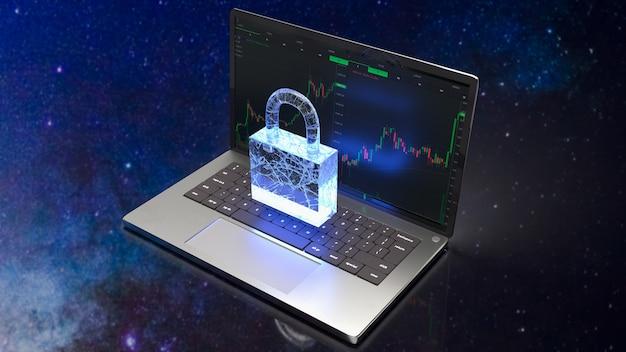 Le bloc-notes et la serrure pour le rendu 3d du concept de sécurité