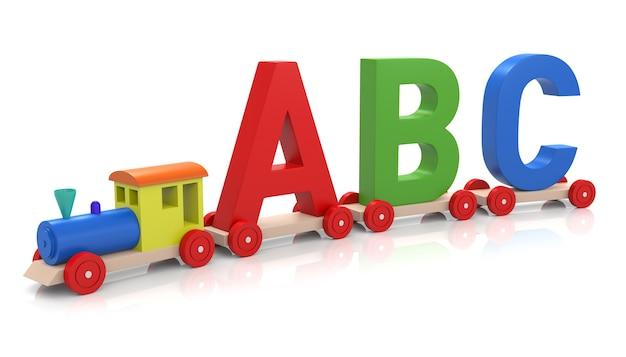 Blocs d'apprentissage de l'alphabet sur petit train isolé sur fond blanc. rendu 3d