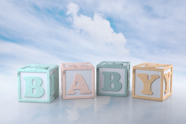 Blocs de bébé sur fond de nuage. rendu 3d