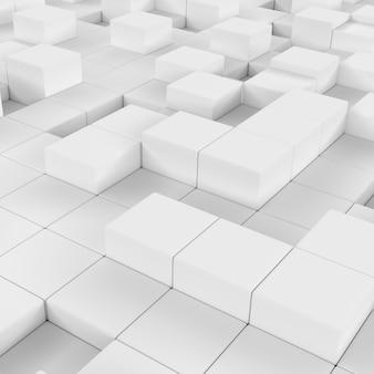 Blocs blancs abstraits, rendu 3d