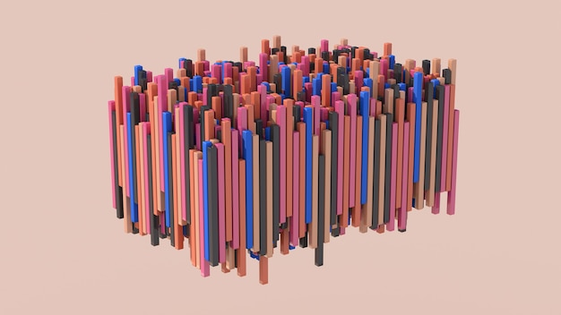 Blocs colorés en mouvement. fond beige. illustration abstraite, rendu 3d.
