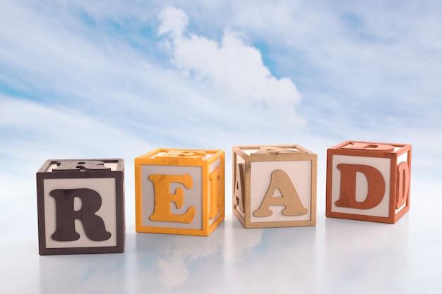 Blocs de construction de l'alphabet qui orthographient les blocs de lecture de mot sur fond de nuage. rendu 3d