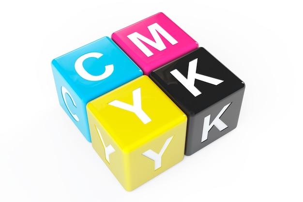 Blocs de cube avec signe cmjn sur fond blanc