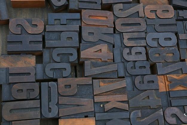 Blocs d'impression typographique offset vintage en bois