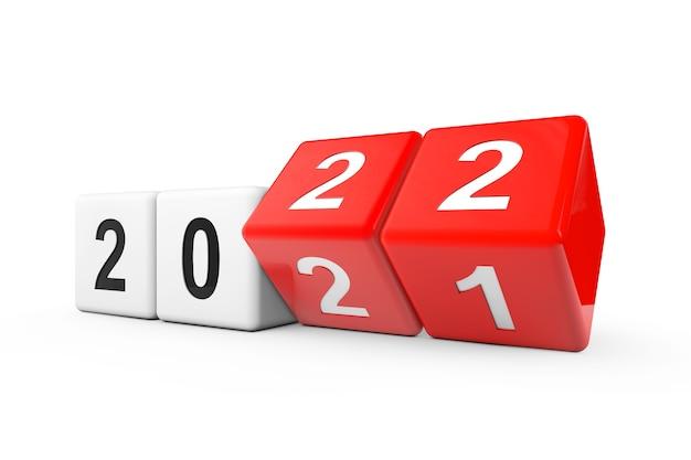 Blocs avec la transition de l'année 2021 à 2022 sur fond blanc. rendu 3d