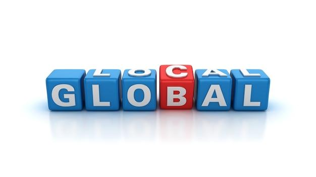 Les blocs de tuiles buzzword passant de mots locaux à des mots globaux