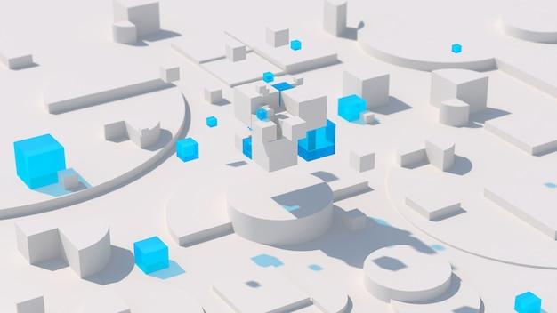 Blocs de verre blancs et bleus. concept technologique. illustration abstraite, rendu 3d.