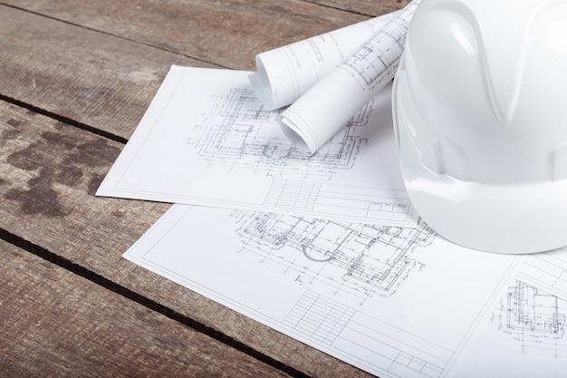 Blueprints, hardhat ou casque de sécurité