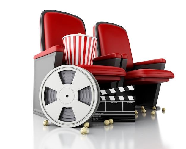 Bobine de film 3d, pop-corn et clap de cinéma sur le siège du théâtre.