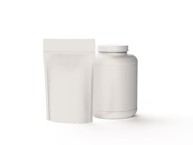 Bocal en plastique et pack de doy en aluminium isolé sur blanc