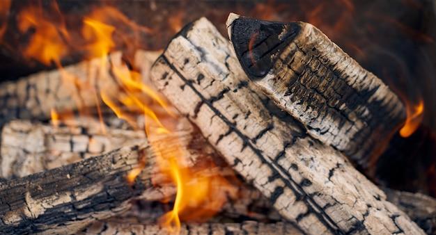 Bois brûlant dans un gril dans la nature en arrière-plan.