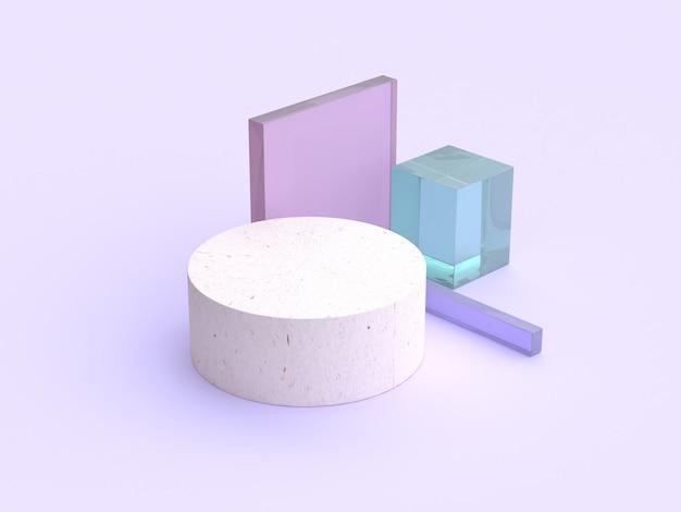 Bois cercle forme claire scène violet rendu 3d minimal