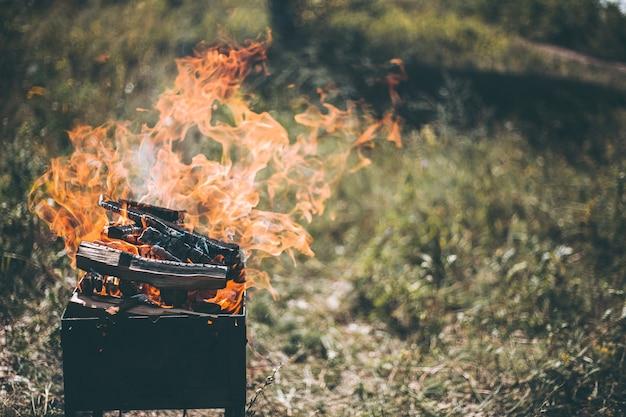Le bois de chauffage brûle sur le gril dans la rue.