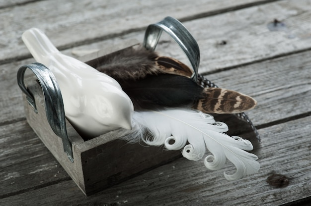 Bois patiné avec plumes