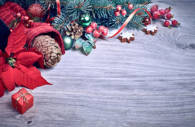 Bois avec poinsettias et branches de sapin de noël décorées