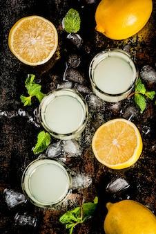Boisson alcoolisée italienne traditionnelle faite maison, limoncello de liqueur de citron avec des agrumes frais, de la glace et de la menthe, sur le tableau noir rouillé, vue du dessus