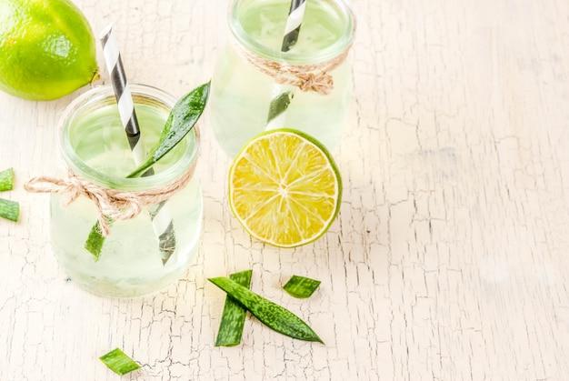 Boisson détox exotique saine, aloe vera ou jus de cactus au citron vert