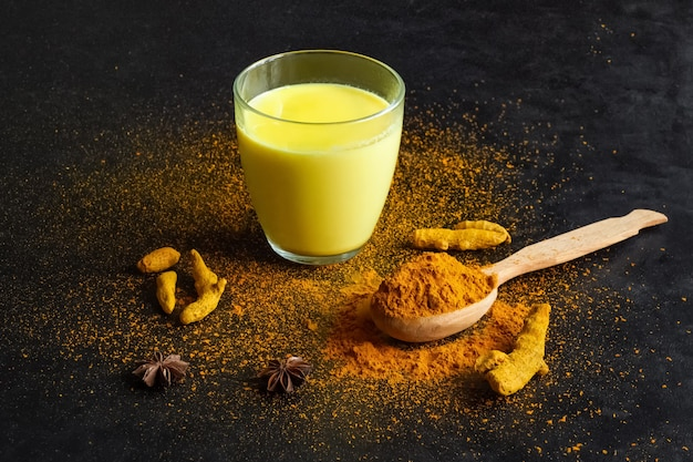 Boisson indienne traditionnelle lait d'or au curcuma