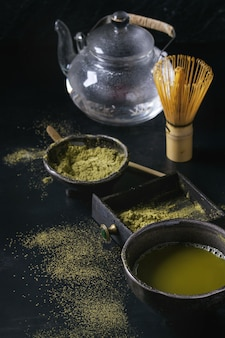 Boisson et poudre de matcha au thé vert