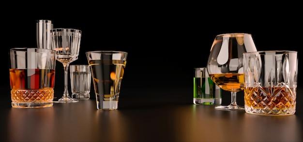 Boissons alcoolisées fortes sur fond sombre
