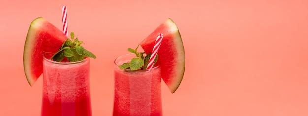 Boissons rafraîchissantes au jus de fruit de melon d'eau froid rafraîchissant