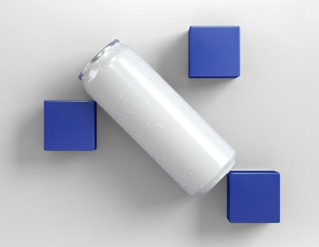Boîte en aluminium abstraite pour présentation de boisson avec des cubes