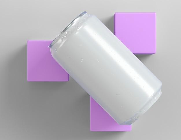 Une boîte en aluminium abstraite pour la présentation de la boisson avec trois cubes