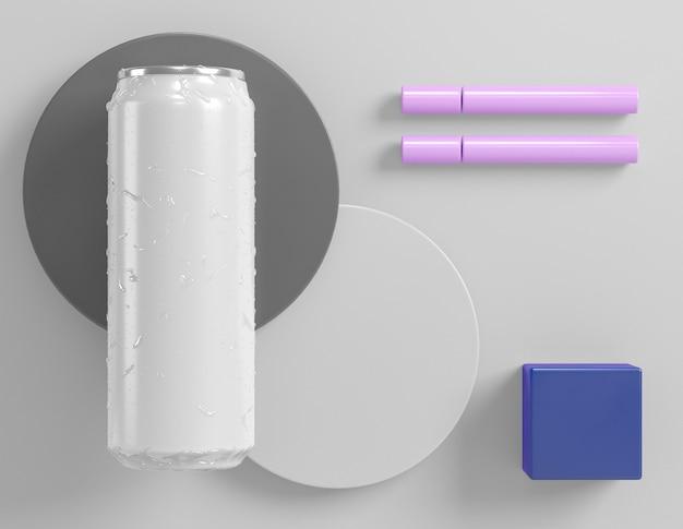 Une boîte en aluminium abstraite pour la présentation de boissons avec des formes