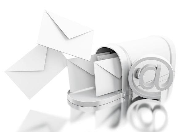 Boîte aux lettres 3d ouverte avec signe at
