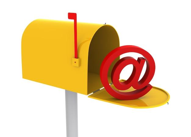 Boîte aux lettres jaune avec logo e-mail à l'intérieur. image générée numériquement