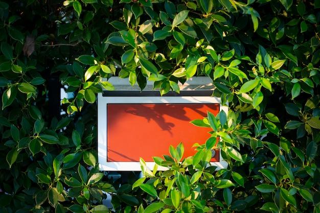 Boîte aux lettres rouge avec fond de feuille de nature verte.