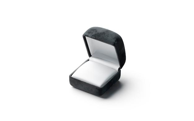 Boîte à bagues ouverte noire vierge, vue latérale