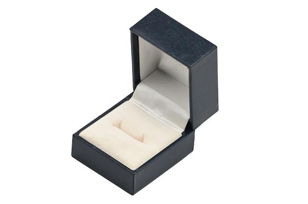 Boîte à bijoux en cuir bleu isolé