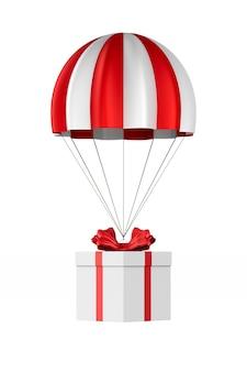 Boîte blanche avec arc rouge et parachute sur blanc. illustration 3d isolée