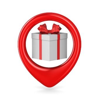 Boîte blanche avec arc rouge en pointeur sur blanc. illustration 3d isolée